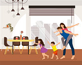 Family Enjoying New Home Cartoon Vector Concept with Happy Smiling Children Running and Fooling Around, Man Piggyback Riding His Young Wife in Spacious Living Room in Modern Apartment Illustration