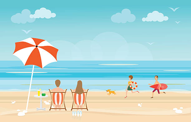 Happy Family Enjoying On Beach During Vacations Vector Art Illustration