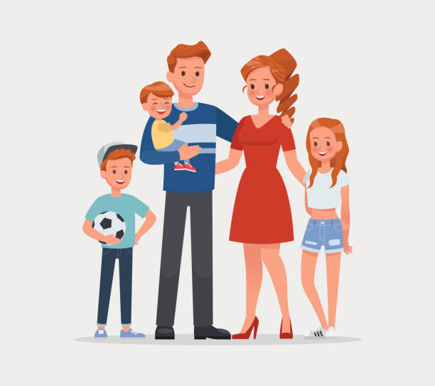 happy family father mother and child character vector design - family stock illustrations