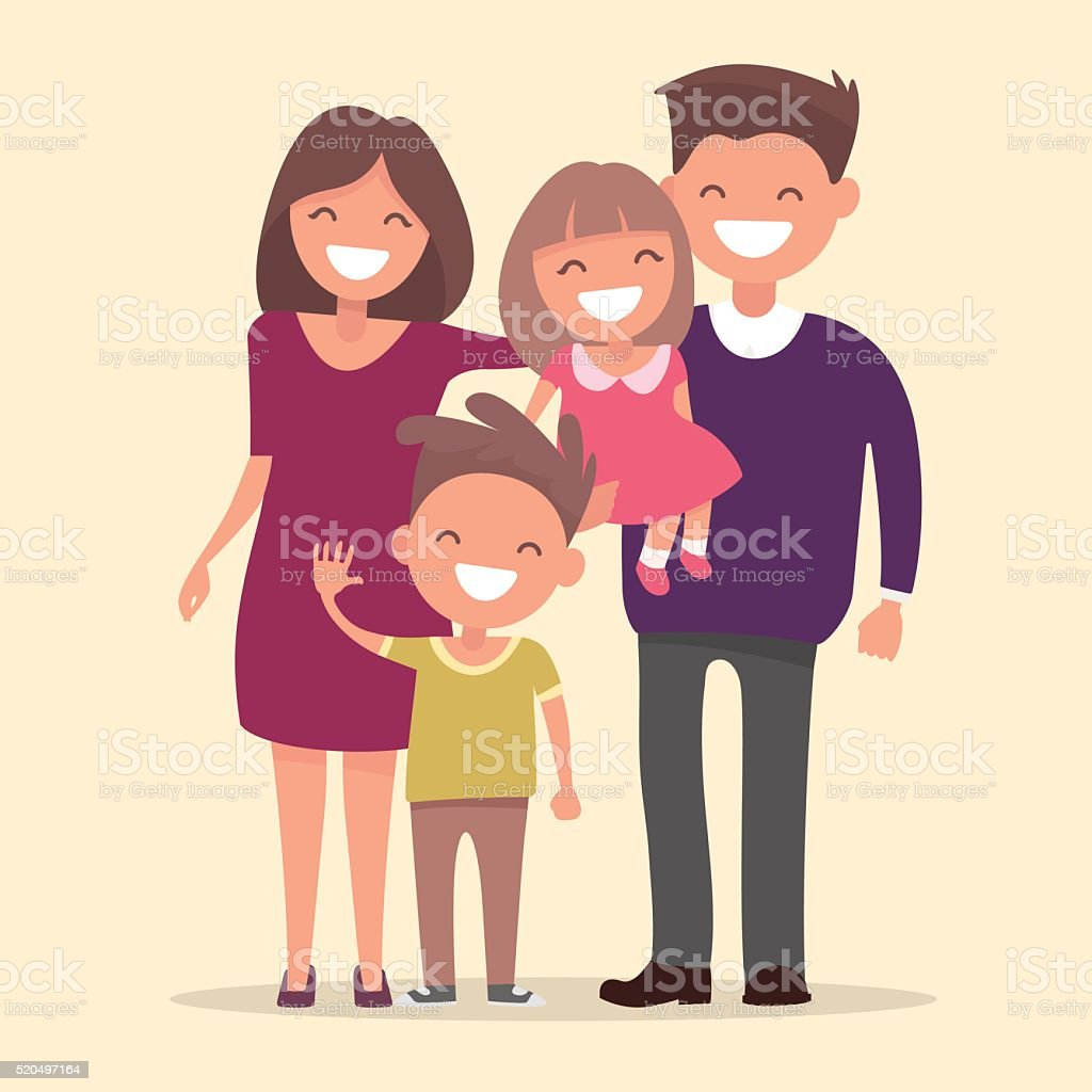 Happy family . Father mother daughter and son together vector art illustration