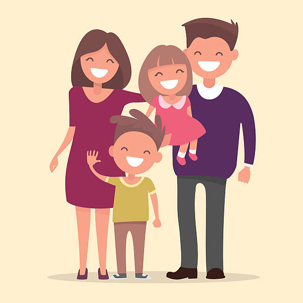 happy family . father mother daughter and son together - happy family stock illustrations