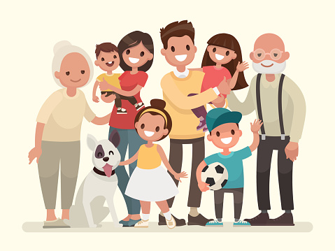 Happy family. Father, mother, grandfather,grandmother, children and pet clipart
