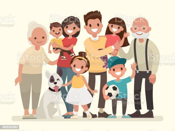 Happy family father mother grandfathergrandmother children and pet vector id695090882?b=1&k=6&m=695090882&s=612x612&h=3 hoznujcrljkwg07ucxh1qwkwjqt7diorivurfipgs=