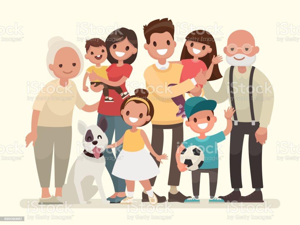 幸せな家族。父、母、祖父、祖母、子供たちとペット ベクターアートイラスト