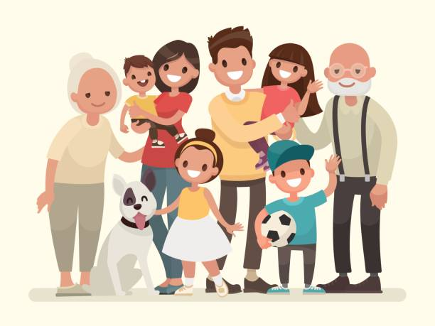 Happy family. Father, mother, grandfather,grandmother, children and pet vector art illustration