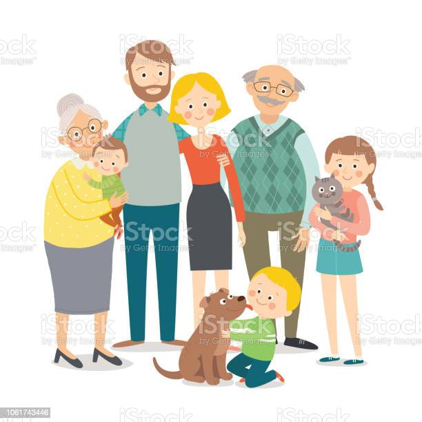 Happy family father mother grandfathergrandmother children and pets vector id1061743446?b=1&k=6&m=1061743446&s=612x612&h=co9 czj6aoughbdzgayopdgediqdeildwoyyso6 suc=