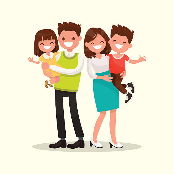 Happy family. Father, mother, son and daughter together. Vector Happy family. Father, mother, son and daughter together. Vector illustration of a flat design parenting stock illustrations