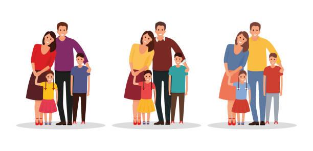 幸せな家族。父、母、息子、娘も一緒。色の異なるバリエーションを持つ株式のベクトルを実行します。 - 姉妹点のイラスト素材/クリップアート素材/マンガ素材/アイコン素材