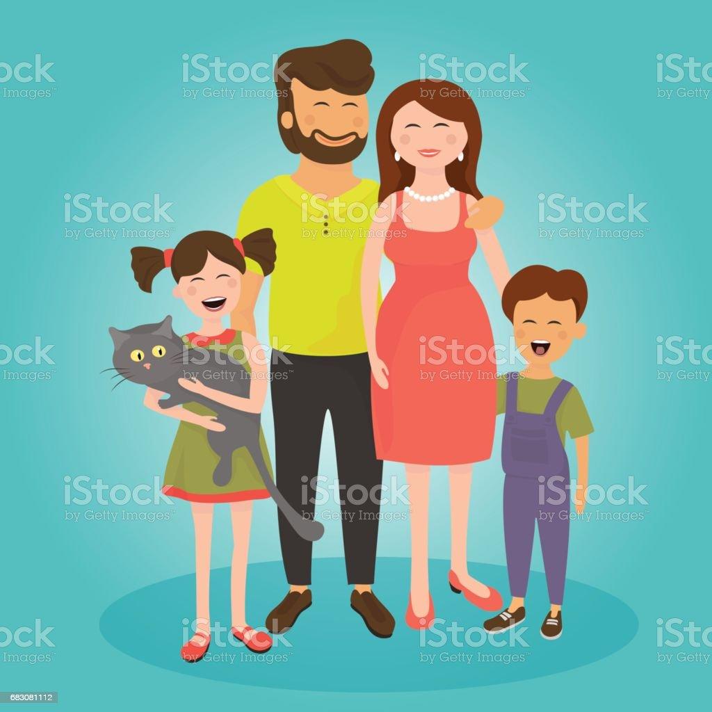 Happy family. Father, mother, son and daughter. happy family father mother son and daughter - arte vetorial de stock e mais imagens de 20-29 anos royalty-free