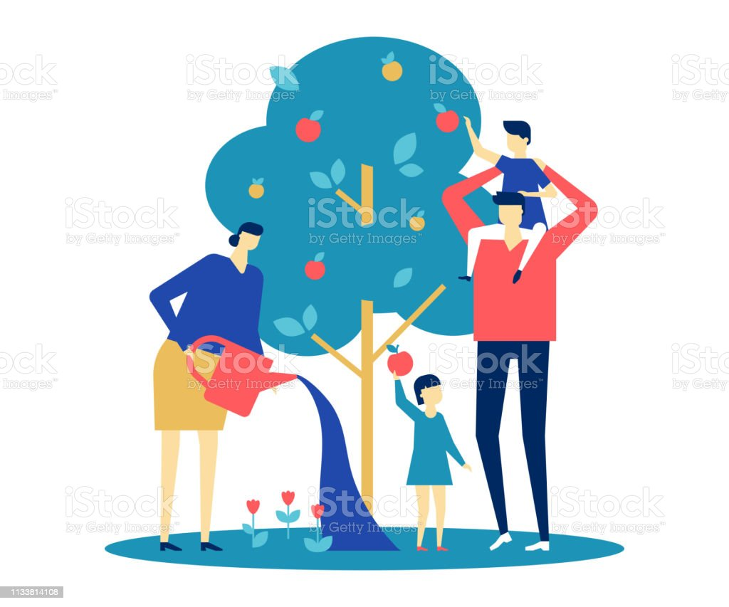 Happy family - flat design style colorful illustration Happy family - flat design style colorful illustration on white background. A bright composition with young parents, wife and husband standing together around apple tree, watering it, picking fruit Adult stock vector