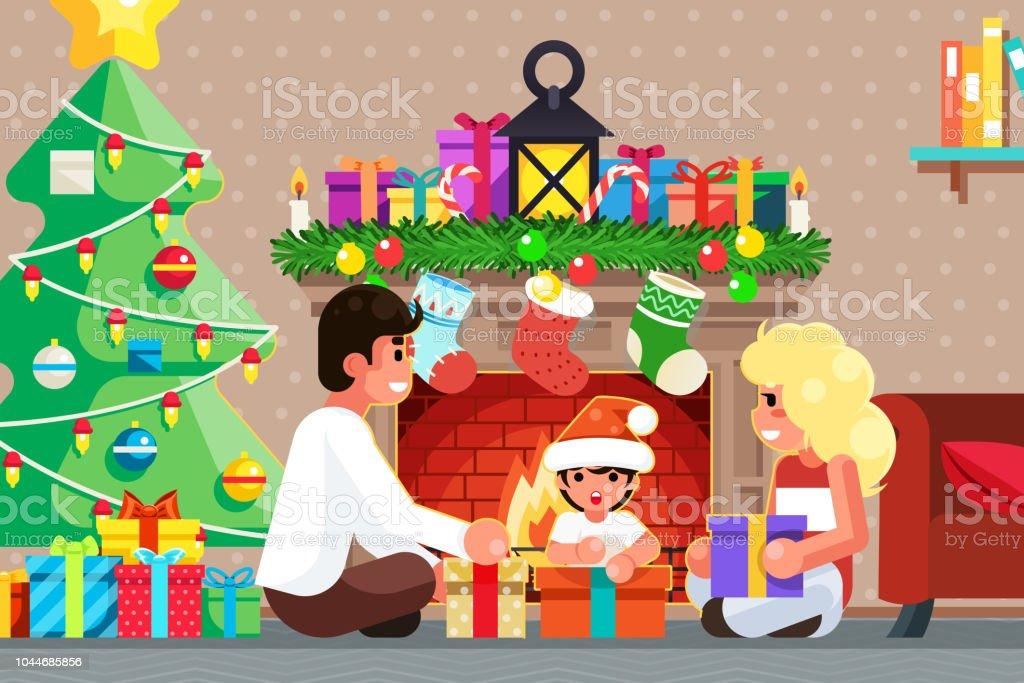 Gelukkige familie voorzijde van de open haard opent geschenken kamer