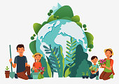 Happy family gardening. Eco friendly ecology concept. Nature conservation vector illustration