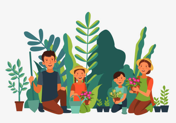 Happy family gardening. Eco friendly ecology concept. Nature conservation vector illustration Happy family gardening. Eco friendly ecology concept. Nature conservation vector illustration gardening stock illustrations