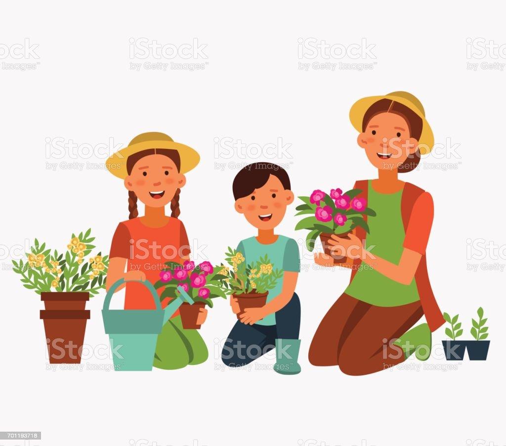 Happy family gardening vector art illustration