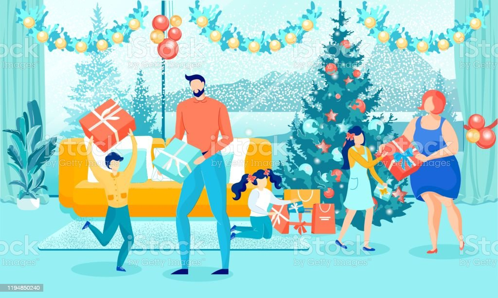 Happy Family Giving Christmas Gifts Near Xmas Tree Stock Illustration Download Image Now Istock
