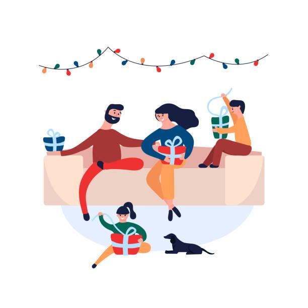 bildbanksillustrationer, clip art samt tecknat material och ikoner med lycklig familj ge varandra julklappar som sitter hemma på soffan - christmas gift family