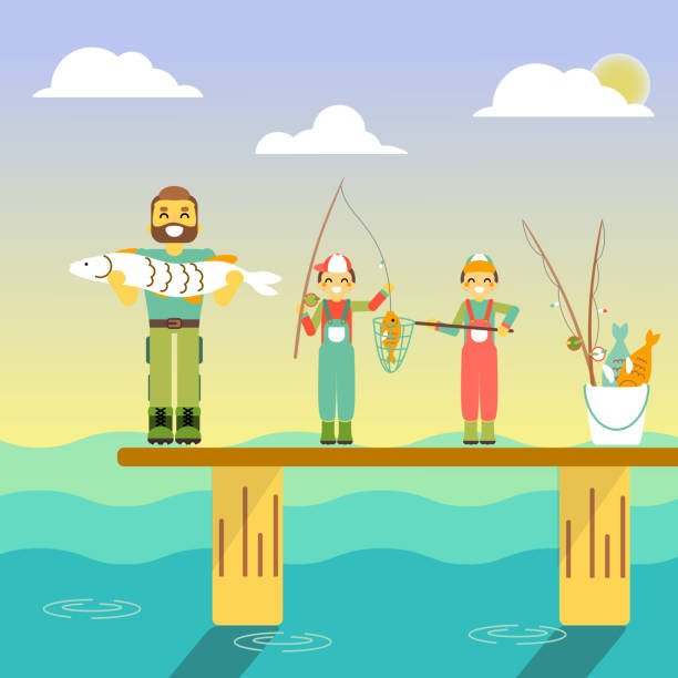 Happy family go fishing. Vector illustration in flat style design. Cartoon people characters fishing in sea. Parents and kids on a pier with fishing rods on holiday vector art illustration