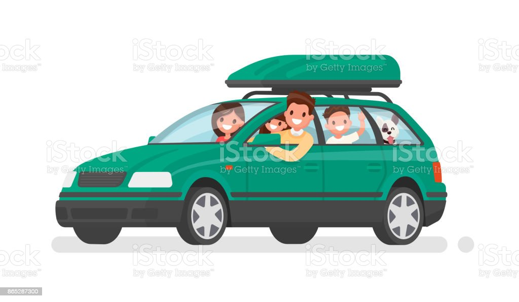 Familia feliz se va en coche de vacaciones. Padre, madre, hijo, hija y perro van en un viaje. Ilustración de vector - ilustración de arte vectorial