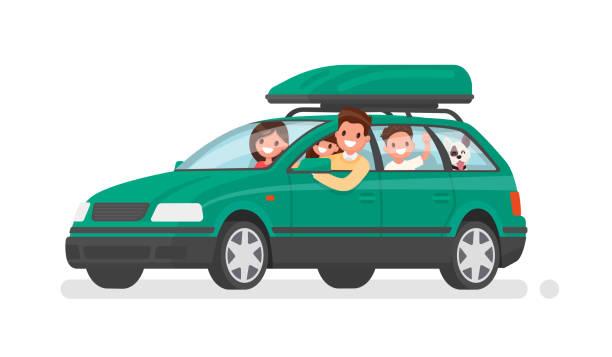 illustrations, cliparts, dessins animés et icônes de famille heureuse part en voiture, en vacances. père, mère, fils, fille et chien partent en voyage. illustration vectorielle - vacances en famille