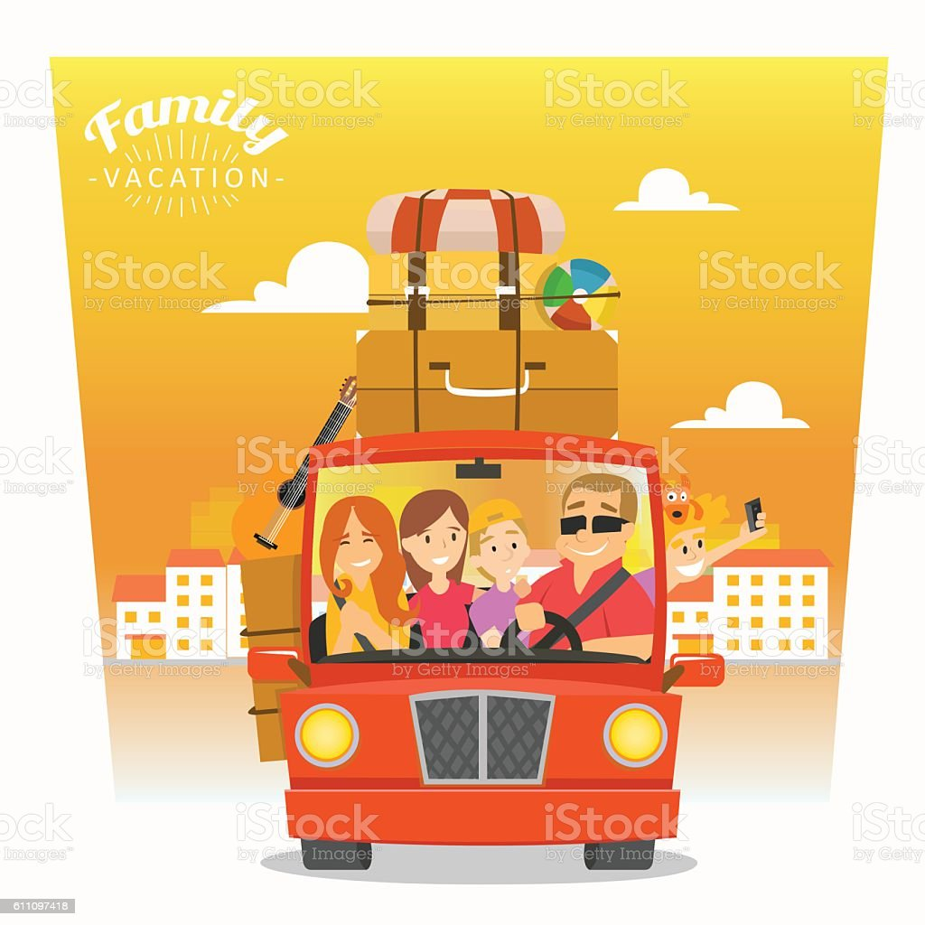 happy family goes on holiday by car. Summer vacation. - Illustration vectorielle