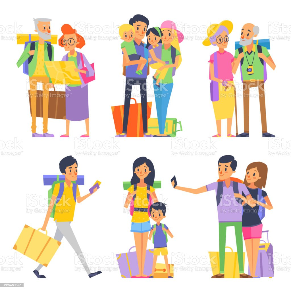 Happy family goes to vacation. Mother father and children. Grandmother and grandfather. Vector illustration - Illustration vectorielle
