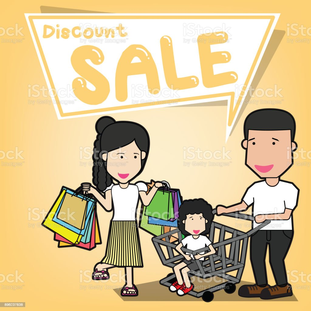 Happy family going shopping vector art illustration