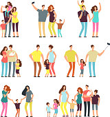 Happy family groups. Adult parents couple playing with kids vector cartoon people isolated. Father and mother character, parents with daughter and son illustration
