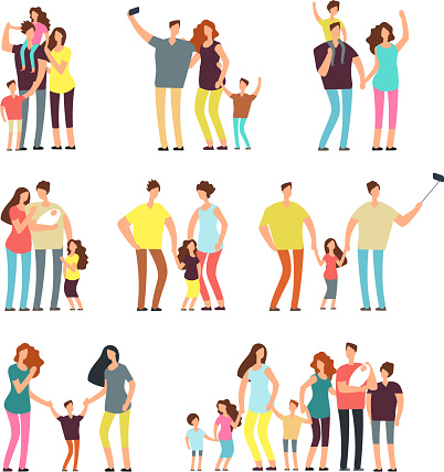 Happy family groups. Adult parents couple playing with kids vector cartoon people isolated clipart