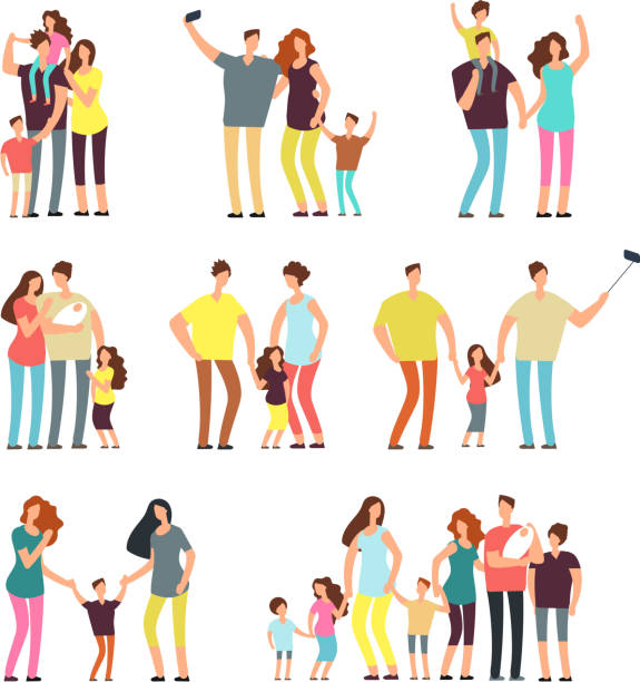 happy family groups. adult parents couple playing with kids vector cartoon people isolated - family stock illustrations