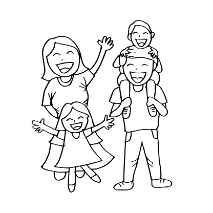 Happy family hand drawing illustration. clipart