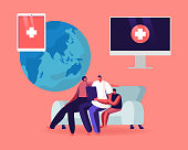 Happy Family Ð¡haracters Using Ehr, Electronic Health Record System for Sending Health Information to Doctor Using Internet. Mother, Father and Child with Laptop. Cartoon People Vector Illustration