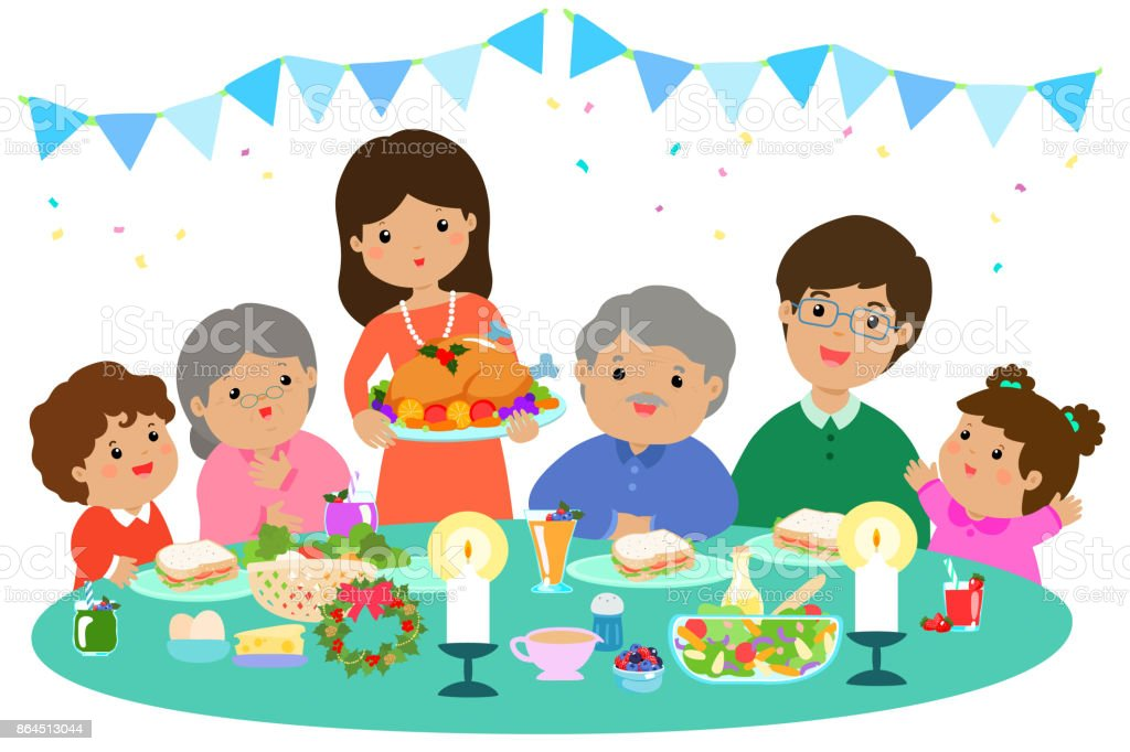 Christmas Dinner Clipart.Happy Family Having A Christmas Dinner Vector Stock Illustration Download Image Now
