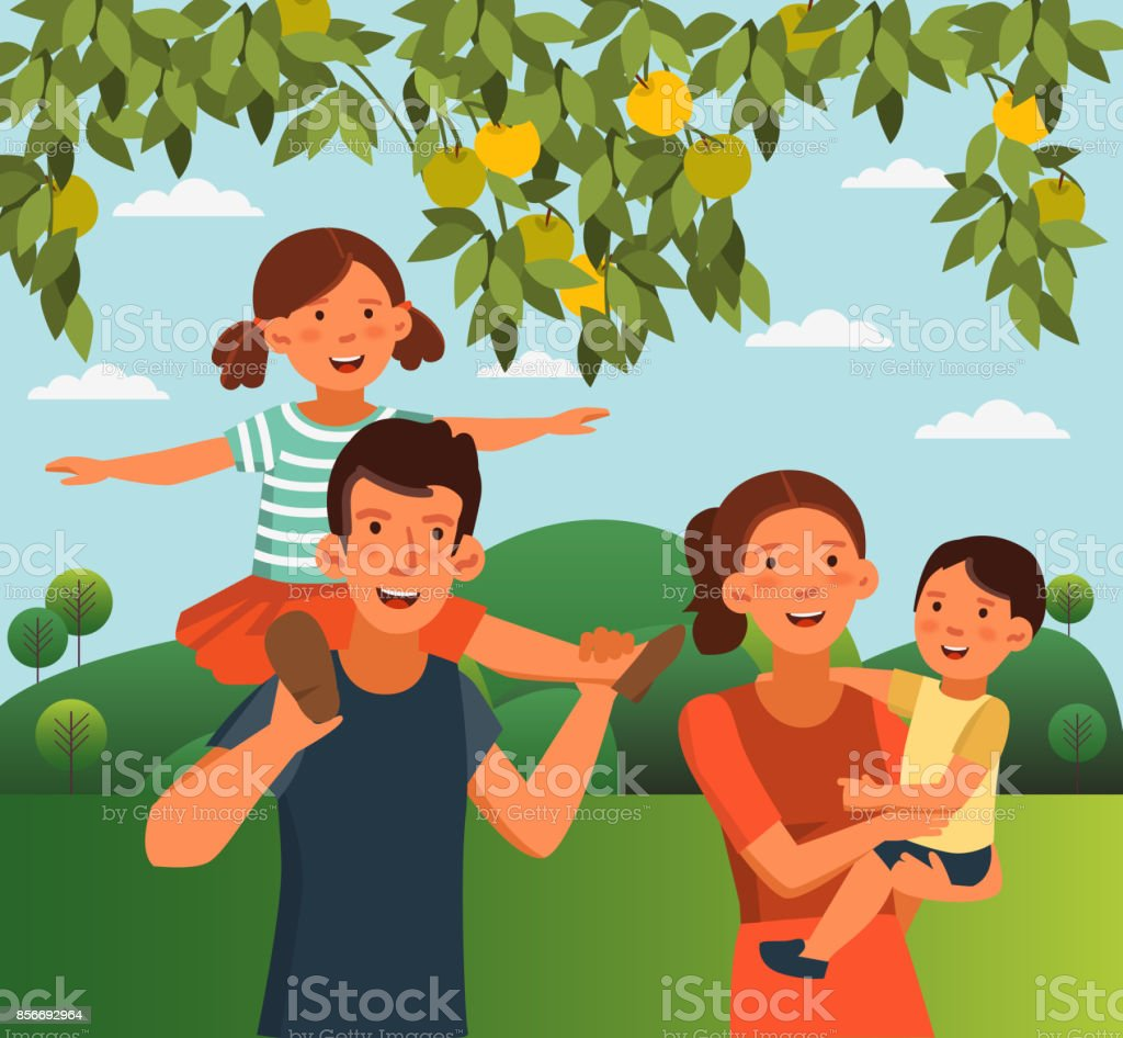 Happy family having fun in the garden. Summer landscape background vector art illustration