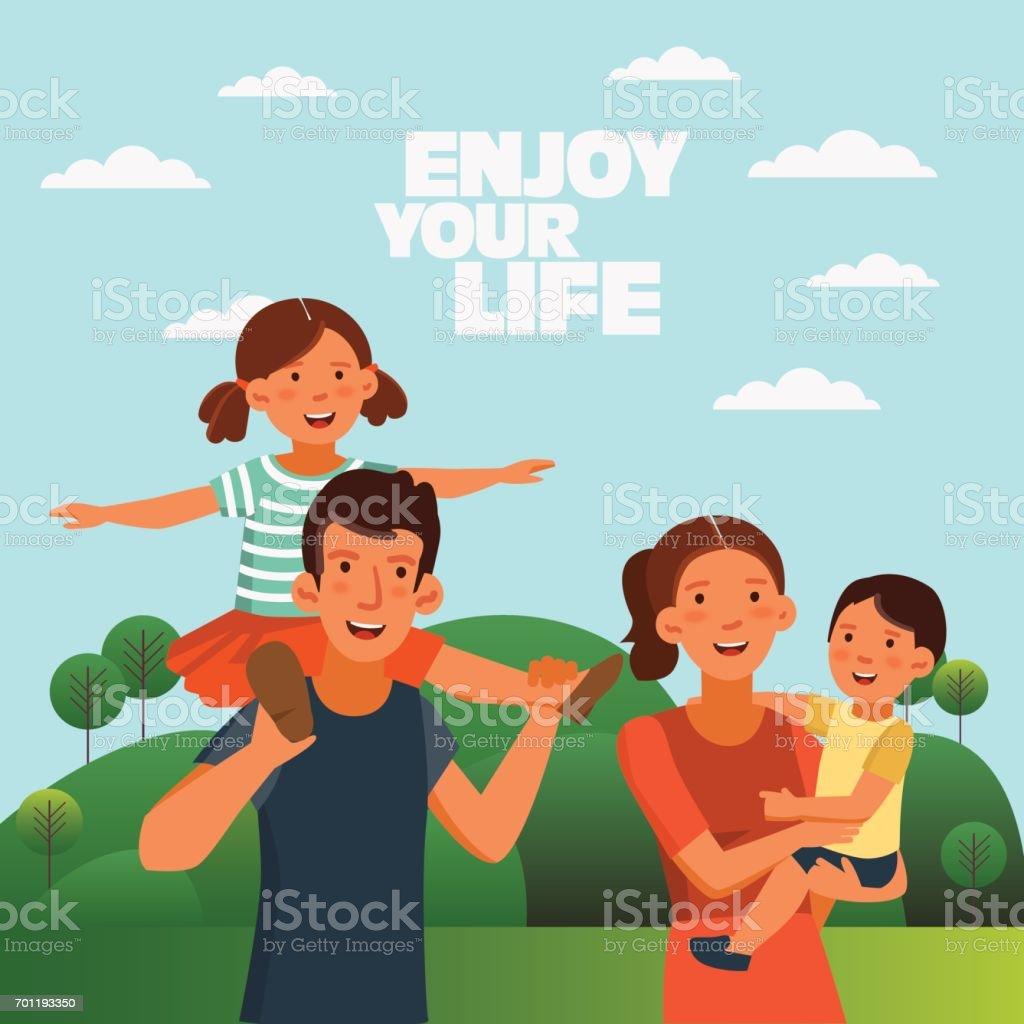 Happy family having fun vector art illustration
