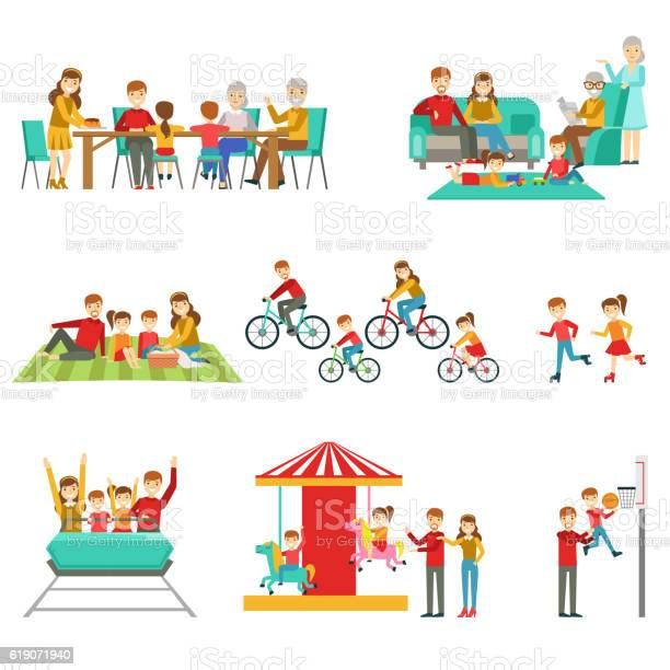 Happy family having good time together set of illustrations vector id619071940?b=1&k=6&m=619071940&s=612x612&h=t0pggdcopm vjdgqryc flszpv3itjpiw7kf2nlonvq=
