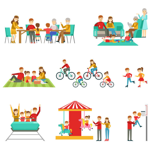 Happy Family Having Good Time Together Set Of Illustrations - Illustration vectorielle