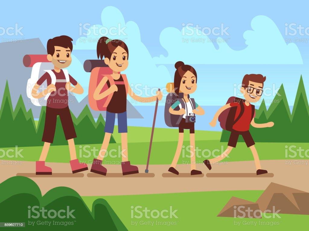 Excursionistas de familia felizes. Concepto de vector de aventura al aire libre senderismo otoño - ilustración de arte vectorial