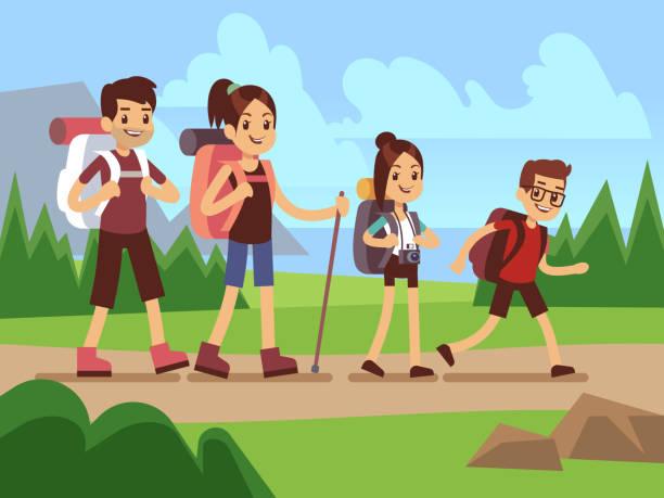ilustraciones, imágenes clip art, dibujos animados e iconos de stock de excursionistas de familia felizes. concepto de vector de aventura al aire libre senderismo otoño - viajes familiares