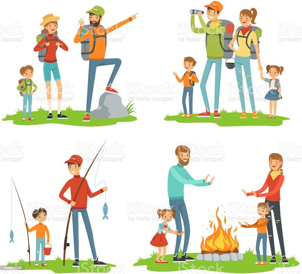 Senderismo familiar feliz. Viaje a los niños con sus padres. Ilustraciones de viaje camping y camino - ilustración de arte vectorial