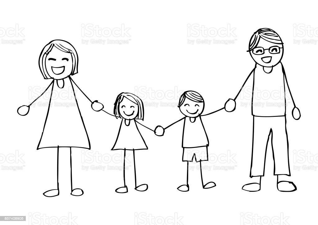 Happy Family Holding Hands And Smiling Hand Drawing Illustration Stock Vector Art U0026 More Images ...
