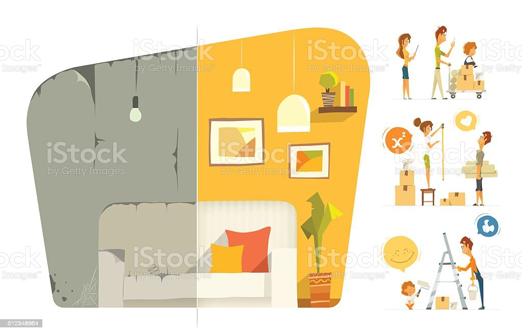Happy family home house flat apartment room repair. Before after vector art illustration