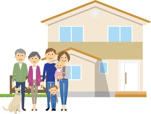 幸せな家庭、ホーム - 母娘 笑顔 日本人点のイラスト素材/クリップアート素材/マンガ素材/アイコン素材