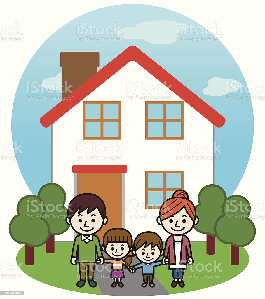 Happy Family House Stock Vector Art & More Images of Adult ...