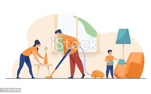 istock Happy family housekeeping together flat vector illustration 1216319843