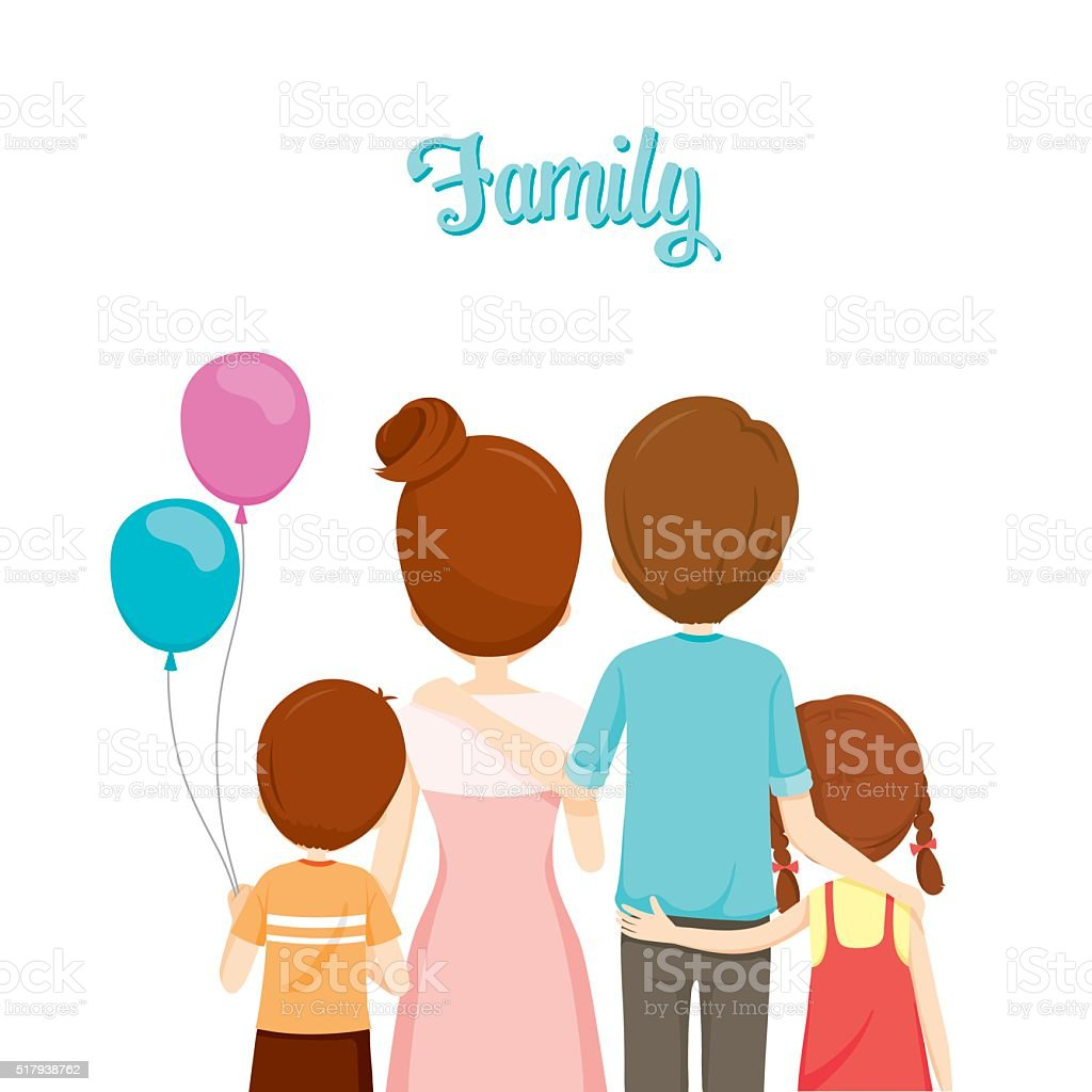 Happy Family Hugging Together vector art illustration