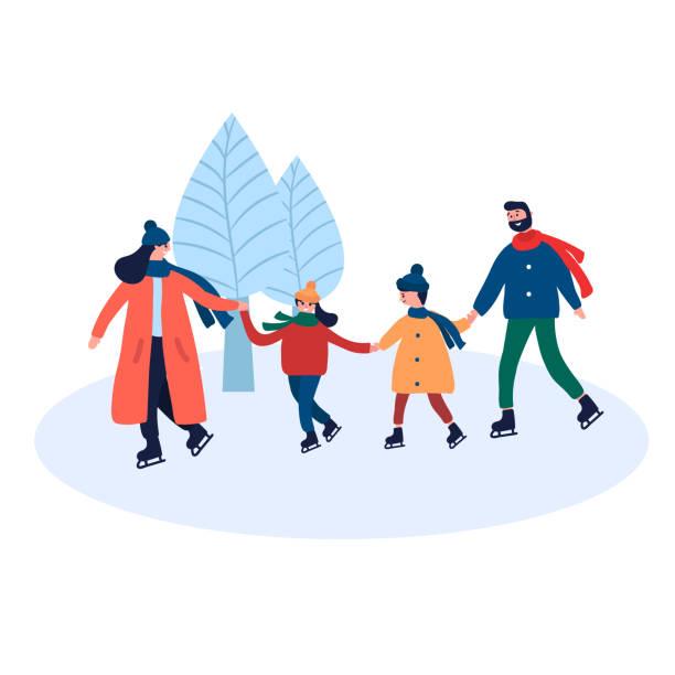stockillustraties, clipart, cartoons en iconen met gelukkige familie schaatsen in de winter park outdoor activiteit - family winter holiday