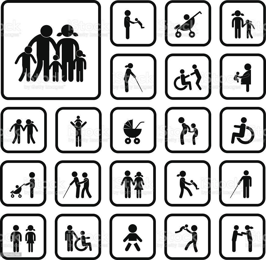 Icône familiale heureuse - Illustration vectorielle