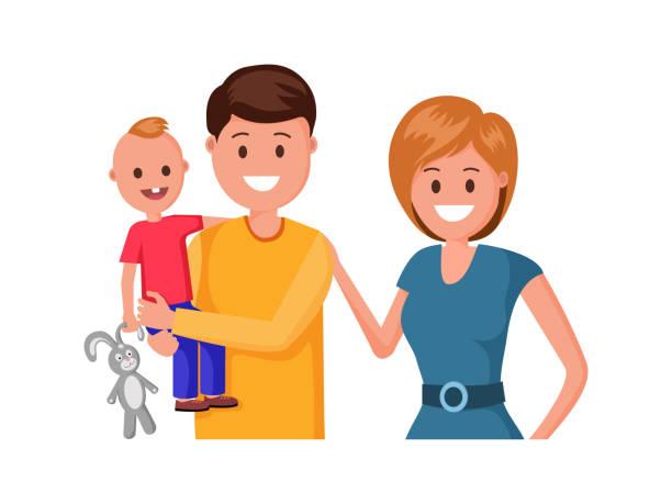 illustrations, cliparts, dessins animés et icônes de illustration heureuse de famille - enfants de bande dessinée