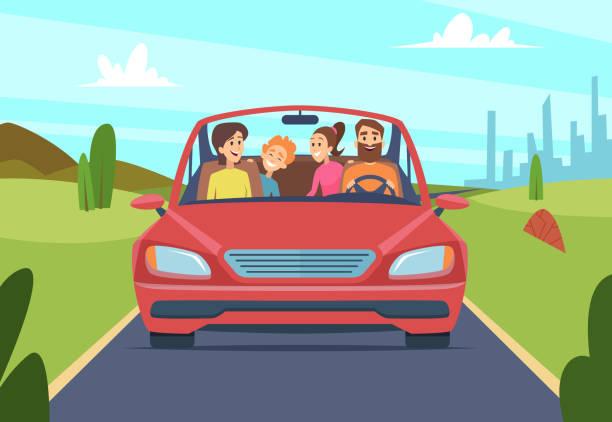 bildbanksillustrationer, clip art samt tecknat material och ikoner med lycklig familj i bilen. människor far mamma barn resenärer i bil vektor framifrån - kör