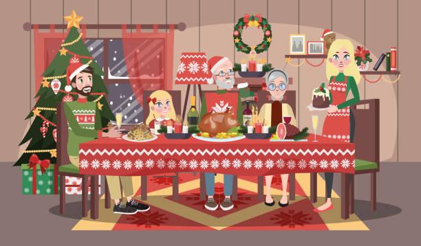 ilustrações de stock, clip art, desenhos animados e ícones de happy family in cozy sweater sitting - christmas table